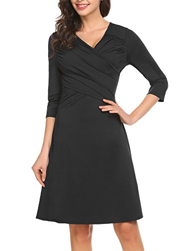 Waist Sleeve Dress Ruched - Ruched Dress for Women,3/4 Sleeve V Neck Ruched Empire Waist Work A Line Dress,Black,Medium