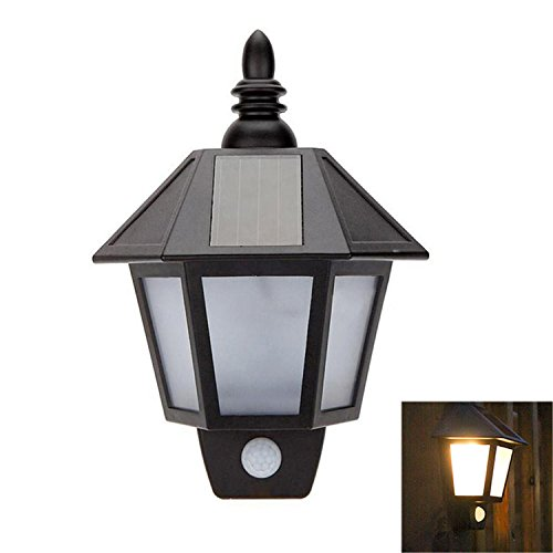 XZP LED Solar Wall Light Outdoor Warm White Cool White ABS PS Body Material IP44 Black PIR Sensor Lamp For House Lighting (Color : Warm White) by XZP
