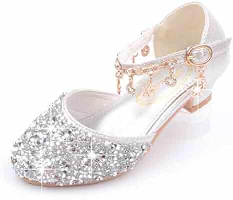 f9f6b23cd257 YIBLBOX Girls Kids Mary Jane Glitter Low Heel Party Wedding Sandals  Childrens Dress Shoes