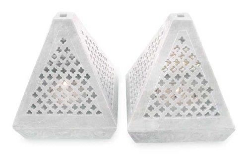 NOVICA Jali Lace Pyramid' (Pair) Soapstone candleholders