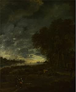 Aert Van Der Neer - A Landscape With A River At Evening,about 1650,Cotton Canvas,30x36inch/76x93cm,the Best Living Room Decoration And Home Decor Is This High Quality Decorative Painting.