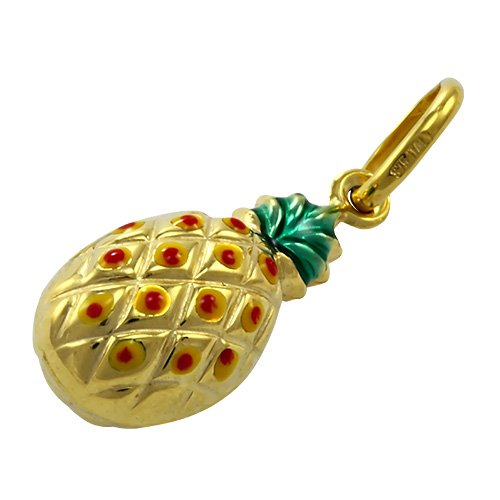 Charm Ananas en Or Jaune 9 Carats et Email