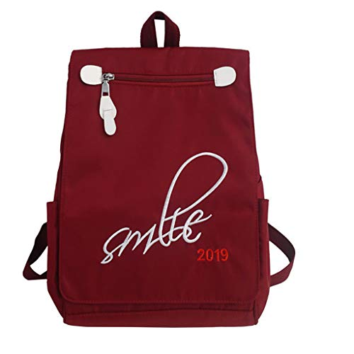 Nylon Backpack for Girls,SIN+MON Women's Zipper Flap Bags School Bag Bookbag Multi-Function Daypack Travel Bag Tote Rucksack (Prada-outlet-online-shop)