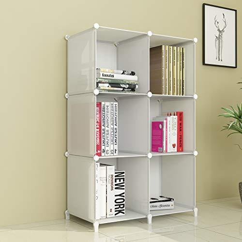 SIMPDIY Portable Storage Organizer Plastic Cubes Sturdy Bookshelf 6 Cubes White Multi-function Space-saving Shelves Plastic Sheves Rack