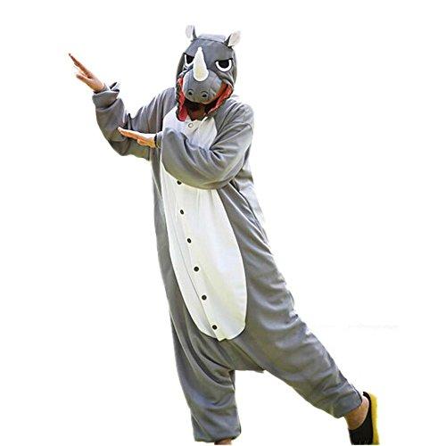 WOTOGOLD Animal Cosplay Costume Rhinoceros Unisex Adult Pajamas Gray -