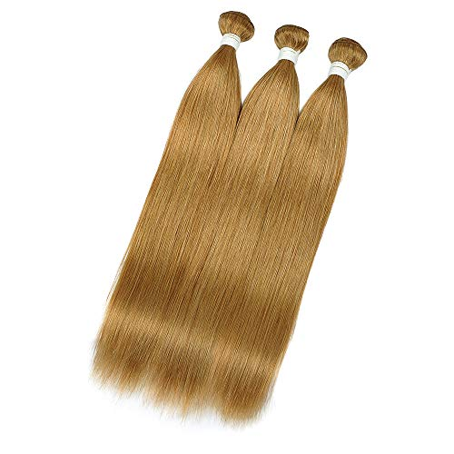 Royal Remy Brazilian Virgin Human Hair, 3 Bundles with Lace Front Closure, 100% Handmade 27# Honey Blonde Straight Human Hair for American African (8 10 12, wg-27#st)