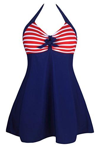 Angerella Swimsuits One Piece Vintage Retro Swimwear Swimdress Women Skirtini,Navy(Stripe),US 8-10=Tag Size L