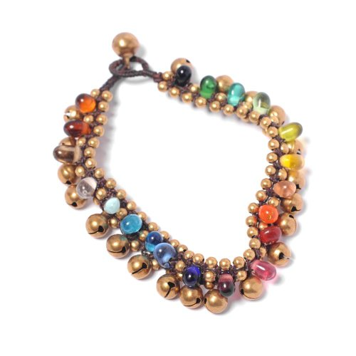 81stgeneration Women's Brass Gold Tone Rainbow Colour Glass Ankle Chain Anklet Bracelet, 25 - Boho Glasses