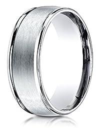 Benchmark® 8mm Comfort-fit Satin-finished High Polished Round Edge Carved Design Band