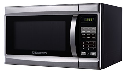 Emerson MW 1338SB, 1.3 CU. FT. 1000 Watt, Touch Control, Stainless Steel Front, Black Cabinent Microwave Oven