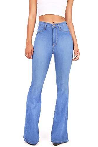 Vibrant Women's Juniors Bell Bottom High Waist Fitted Denim Jeans,Medium Stone,1