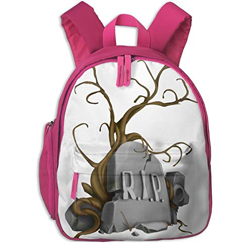 Halloween Rip Tombstones Signs Children School Bag Book Backpack Outdoor Travel Pocket Double Zipper