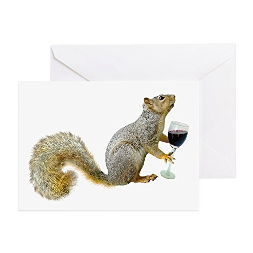 CafePress - Squirrel with Wine Greeting Card - Greeting Card, Note Card, Birthday Card, Blank Inside Matte