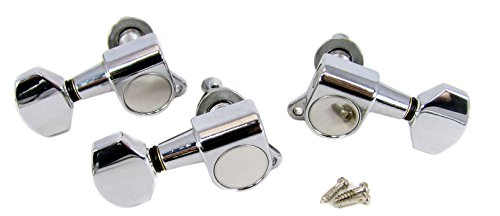 Iii Gear Box (Chrome Sealed-Gear Tuners for 3-String Cigar Box Guitars - 2 Left / 1 Right)