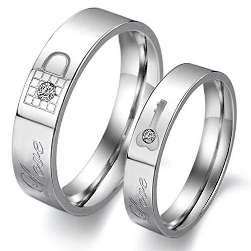 Titanium Steel Filled Diamond Love Lock And Key Wedding