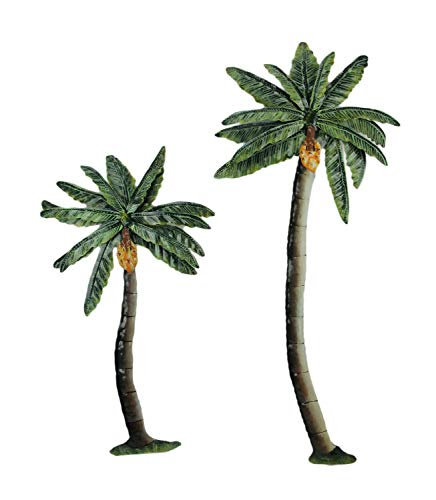 PD Home & Garden Metal Art Tropical Palm Tree Indoor Outdoor Wall Sculpture Large Set of 2