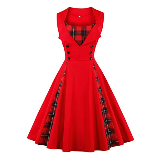 MERRYA Women's 1950s Vintage Retro Plus Size Polka Dot Swing Cocktail Party Dress (S, Red&Plaid)]()