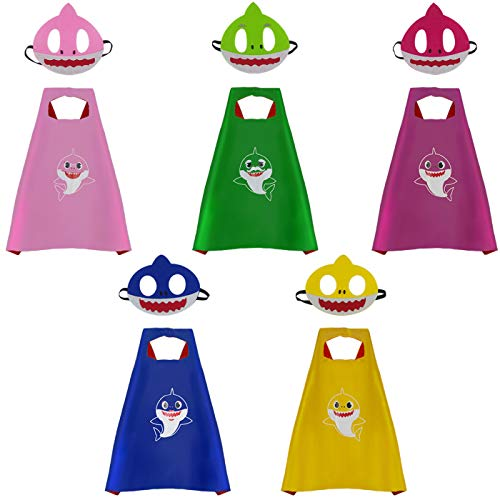 5 Sets Baby Shark Capes and Masks,Baby Shark Costume Birthday Party Supplies for Kids -