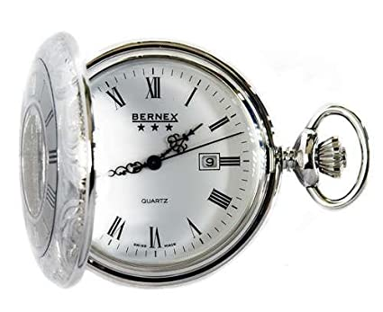 995081f7f94 Bernex Swiss Made Quartz Rhodium Plate Half Hunter Pocket Watch ...