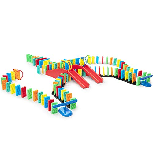 Bulk Dominoes 143 pcs Kinetic Dominoes Stacking Building Toppling Chain Reaction Dominoes Set for Kids and Creators Large PRO-Scale