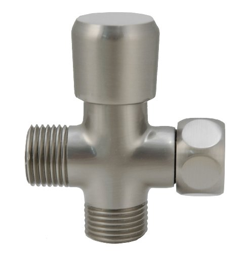 Shower Flow Diverter, Made of Solid BRASS with BRASS Handle - By Plumb USA … (Satin Nickel) by PlumbUSA