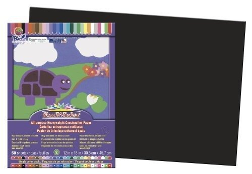Pacon SunWorks Construction Paper, 12-Inches by 18-Inches, 50-Count, Black (6307) - 12 Heavyweight Paper