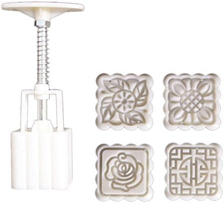 4Pcs//set Cake Tool Stamps Square Flower Moon Cake Mold Mould Mooncake DIY Tools