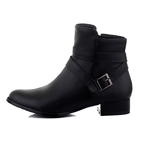 Toe Solid Heels Boots Closed Black Zipper Pu Round Allhqfashion Low Women's xCRBcxqfwS