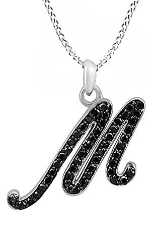AFFY Black Natural Diamond Initial M Pendant Necklace in 14k White Gold Over Sterling Silver (0.25 Ct)