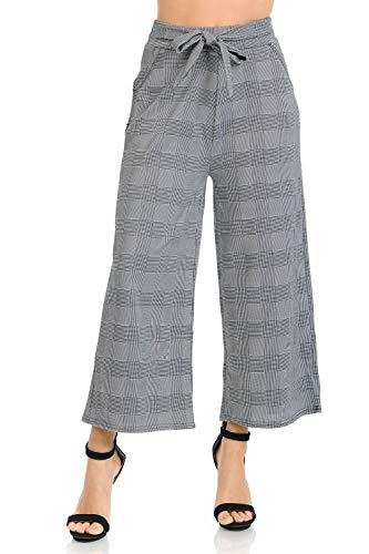 Auliné Collection Womens High Waisted Wide Leg Culottes Cropped Palazzo Pants - B&W Mini Glen Plaid L/XL