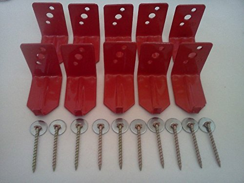 (Lot of 10) Universal Fire Extinguisher Wall Hook, Mount, Bracket, Hanger for 15 to 20 Lb. Extinguisher - FREE SCREWS & WASHERS INCLUDED by BigDavesYardSale