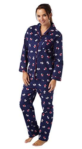 Damas 100% algodón peinado perro Scottie Estampado Winceyette Pijamas. Rojo o Azul Marino Tallas 10–�?214–�?618–�?0 Rosso