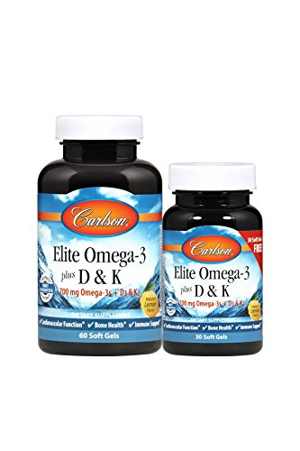 Carlson Elite Omega-3 + D3 & K2, 700 mg Omega-3s, 2,000 IU (50 mcg) D3, 90 mcg K2, 60 + 30 Soft Gels