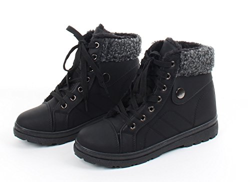 Womens Fur Lined. Lace-Up. Ankle High Shoe Boots, Chic Combat Boots Style, Black
