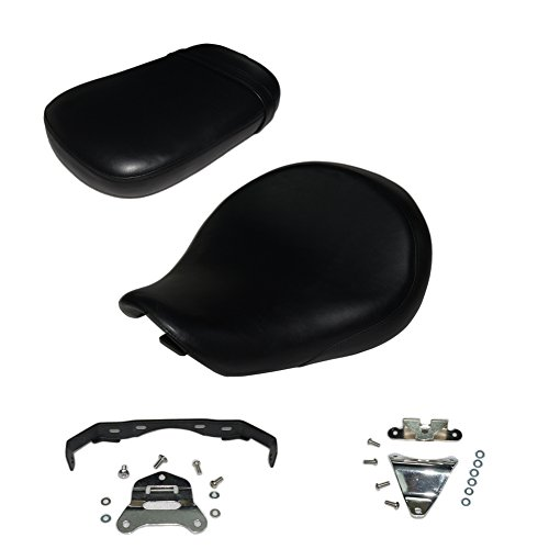 Front and back 2PCS Black Motorcycle Rear Passenger Cushion Seat +Front Driver Cushion Seat For Honda Shadow Aero VT-750C VT750C 2004-2013 VT 750 C 2012 2011 2010 2009 2008 2007 2006 2005 (Seat Honda Shadow)