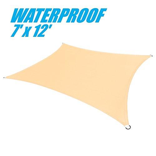 ColourTree 100% BLOCKAGE Waterproof 7' x 12' Sun Shade Sail Canopy Rectangle - Commercial Standard Heavy Duty - 220 GSM - 4 Years Warranty (1, Beige)