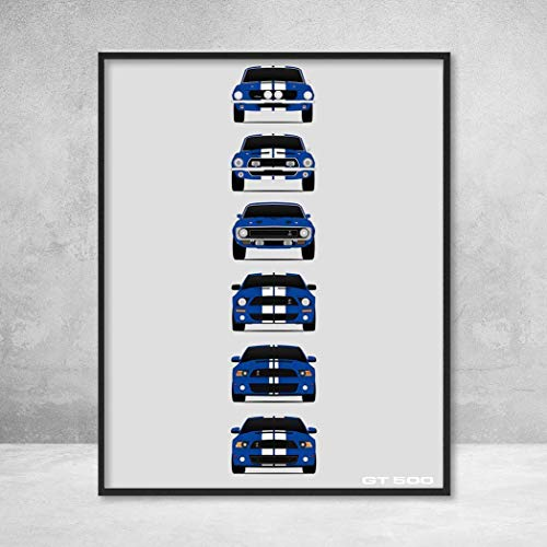 Shelby Mustang GT500 Poster Print Wall Art of the History and Evolution of the Ford Shelby GT500 (Blue Car, White Stripes)