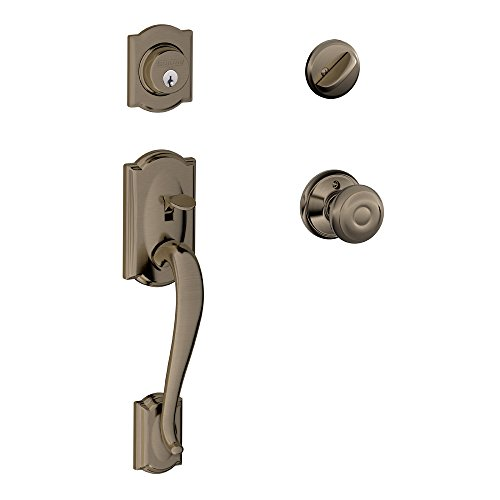 Camelot Single Cylinder Handleset and Georgian Knob, Antique Pewter (F60 CAM 620 GEO)