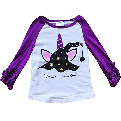 VIKITA 2017 Kid Girl Cotton Halloween Witch Unicorn Purple Long Sleeve T Shirt Clothes GZSH002 5T