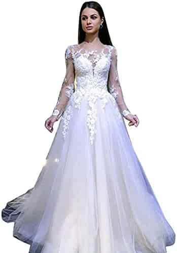 66ed89f7f2a lantusi Women Casual O-Neck Long Sleeve Lace Patchwork Wedding Dress Dresses
