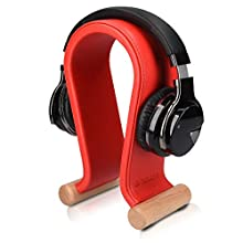 Navaris Omega Headphone Stand - Synthetic Leather Headset Hanger with Wood Base - Holder for Wired, Wireless, Gaming, DJ, Studio Headphones - Red