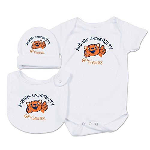 College Kids NCAA Auburn Tigers Baby Essential Set, 0-3 Months, White (Auburn Bib Tigers)