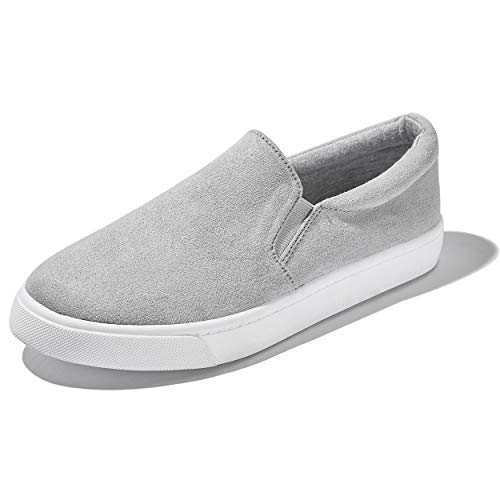 DailyShoes Unisex Flat Memory Foam Slip On Sneakers Fashion Casual Loafers on Flats Distressed Boat Walking Shoes Casual Slip-On Loafers Sneakers Shoes Grey,S,V,9