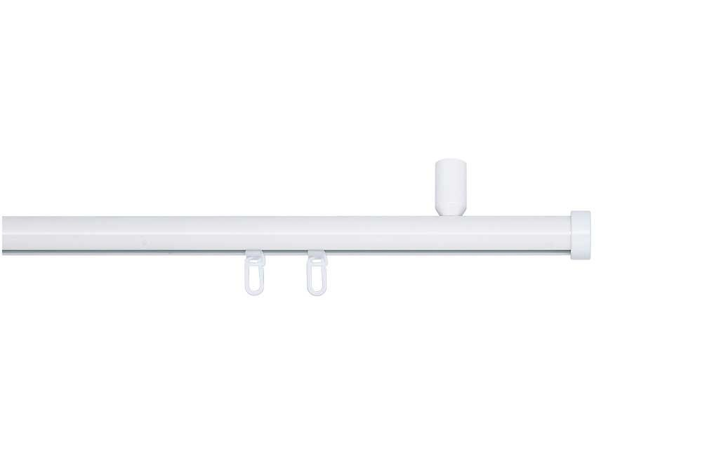Indeko CONSUL, Gardinenstange mit Innenlauf Ø 20mm auf Maß zur zur zur Deckenmontage, 1-Lauf, weiß, Komplettset mit Zubehör 0a805c