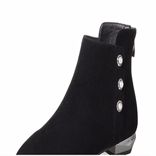 HXVU56546 New Low Heel Women Short Boots Winter and Winter Artificial Leather Pointed Back Zipper Coarse and Pearl and Naked Boots Black
