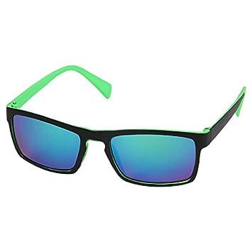Sonnenbrille schmal eckig Brille verspiegelt 400 UV zweifarbig braun grün grau b hm4KNE