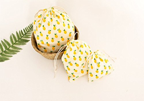 Drawstring pineapple Bag Gift Bag 3pcs WDOIT Drawstring Satchel Storage Bag linen Bags and Bag Tote Storage Cotton Travel qHw5TIn5P