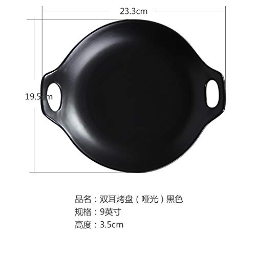 (Ceramic plate Western dish single ear plate pasta Japanese style dish shallow mouth plate salad ins tableware 12.8x7cm black)