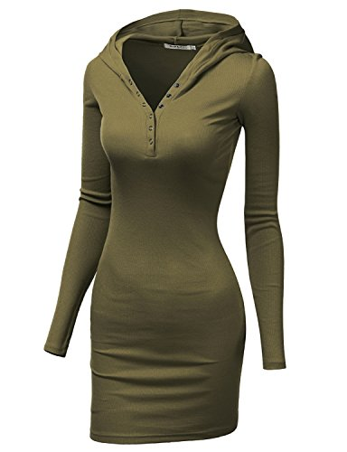Doublju Womens Comfy Knit 3/4 Sleeve Dress KHAKI,L (Fancy Dress Uk)