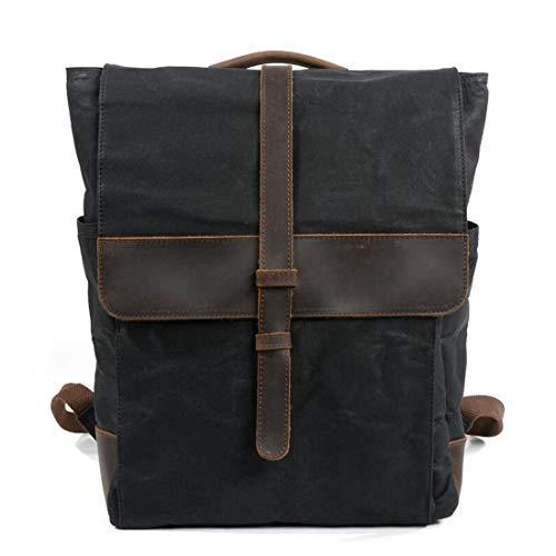 Lona Cuero Bolso Kunliyin Hombre Para Viaje Yy1 De Portátil Senderismo Mochila Vintage Bolsa Black Grande Escolar CIIcqHtw